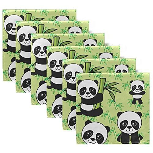 Servilletas de Tela Juego de 6 servilletas de Cena con Pandas Lindas, servilletas de Mesa Reutilizables Lavables para cócteles, Vacaciones, Bodas, hogar, decoración
