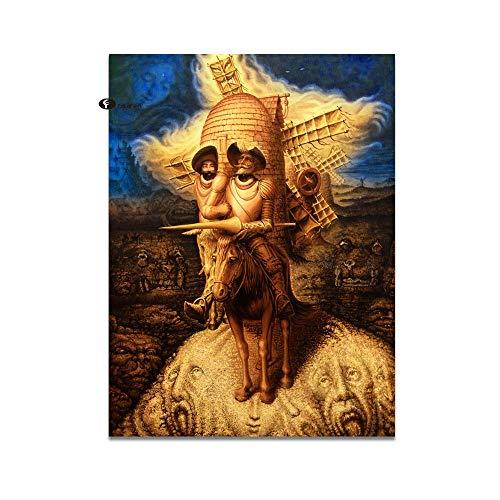 WJY Decoración Abstracta Cuadros Lienzo Pintura Don Quijote Pinturas al óleo Cuadros de Pared para Sala de Estar Moderna decoración del hogar 60cm x90cm Sin Marco