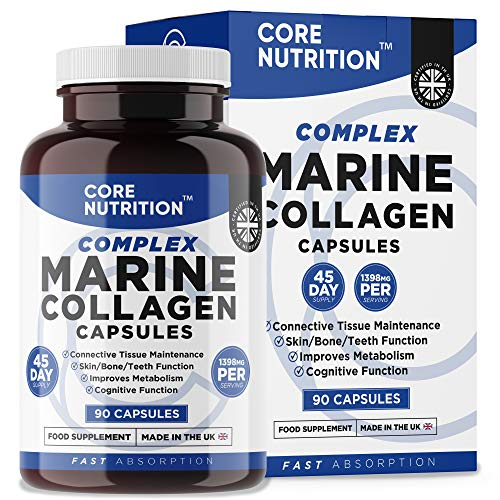 Marine Collagen 1000mg - 90 Capsules for a 45 Day Supply - Superior Type 1 Hydrolysed Collagen - Advanced Complex with 16x Natural Active Ingredients - Made in The UK by Core Nutrition