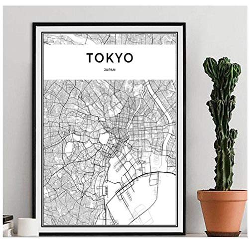 Negro blanco mundo ciudad mapa cartel nórdico sala de estar TOKIO pared arte cuadros decoración para el hogar lienzo pintura- 50x70 cm sin marco