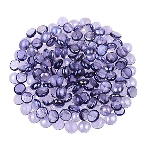 KINGOU Flat Glass Gems/Beads/Stones for Vase Filler, Table Scatter, Games - 1 Lbs (14-16mm, Approx. 5/8')