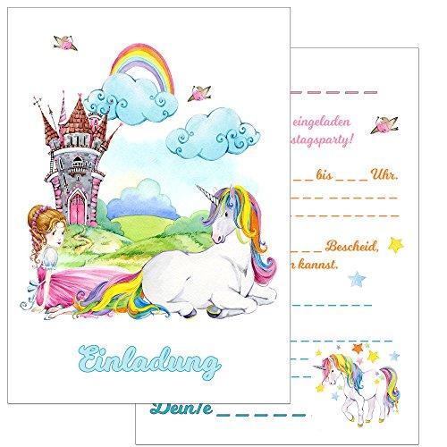 the lazy panda card company Einladungskarten Kindergeburtstag: 15 Einhorn Geburtstagseinladungen Einladungen Geburtstag Kinder Mädchen (Mit Umschlägen) (Prinzessin und Einhorn)
