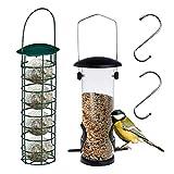 2 comederos para pájaros, alimentador de semillas de pájaros, semillas de girasol, bolas de maní, para pájaros pequeños, con 2 ganchos colgantes