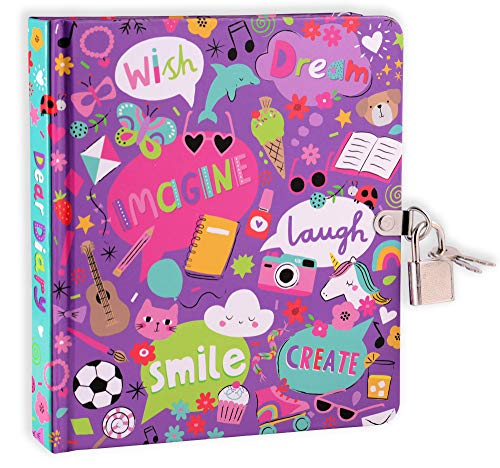 My Favorite Things Lock and Key Diary for Girls, 208 Lined Pages