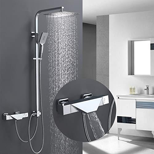 Homelody Trennbar Duschsystem mit Wasserfall Badewannenarmatur Thermostat Duscharmatur inkl. 3 Funktion Handbrause Überkopfbrause Duschstange Duschset Dusche für Bad/Badewanne