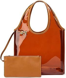 Women Large Clear Bag Waterproof PVC Shoulder Hobo Bag Summer Beach Handbag and Purse with Wallet