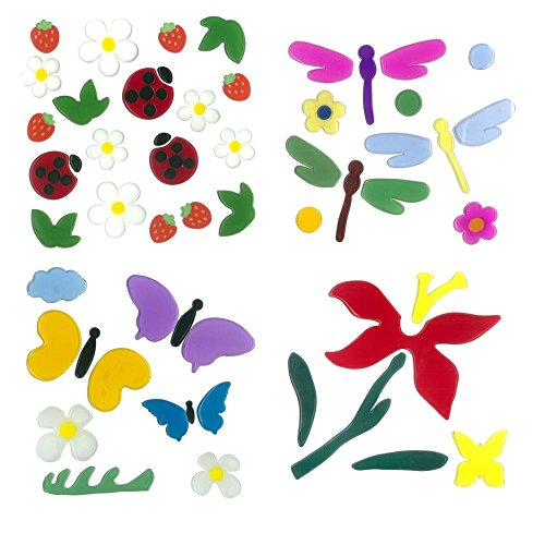 MagicGel 4er Set Fensterbilder mittel, 2 Lilien, Libellen, Schmetterlinge, Marienkäfer und Erdbeeren