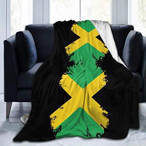 Manta Siesta Felpa Sofás Franela 150X200CM Cubierta acogedora Bandera Jamaica Impresión Negro Hogar Jardín Terciopelo Micro Silla Oficina Envoltura Asiento automóvil 80'x60' Buen sueño Fleece Blanket