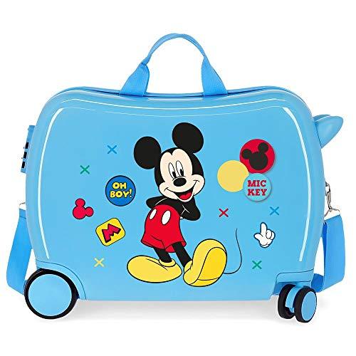 Disney Mickey Enjoy The Day Maleta Infantil Azul 50x38x20 cms Rígida ABS Cierre combinación 34L 2,1Kgs 4 Ruedas Equipaje de Mano