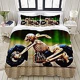 BSGDYNG - Juego de funda de edredón para cama de 3 motos de esqueleto, 3 piezas, juego de edredón suave, varios patrones de tamaño king de 223,5 x 223,5 cm, decoración de dormitorio