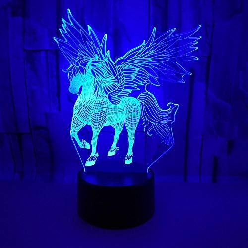 FREEZG Luz Nocturna Infantil Lampara Escritorio Lampara 3D Unicornio alas niño 7 colores Lámpara de decoración Cambio - Regalo perfectos para niño [Clase de eficiencia energética A+]