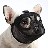 BARKLESS Short Snout Dog Muzzle, Breathable Mesh Flat Faced Muzzle for French Bulldog Shih Tzu and Pug,Mask Bulldog Muzzle for Biting Chewing Licking and Grooming