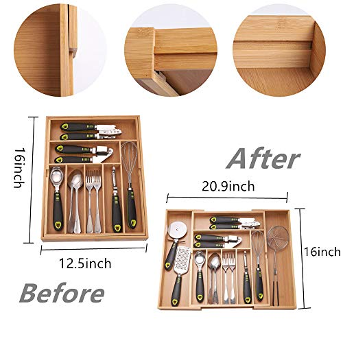 YCOCO Bamboo Expandable Kitchen Drawer Organizer,Large silverware organizer,Drawer Dividers Organizer for flatware,Fit differene Drawer and Kitchen Utensil and Cutlery Sizes