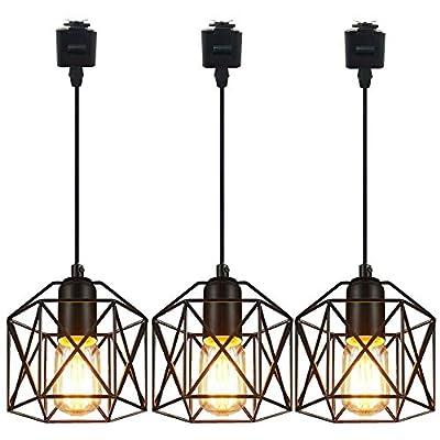 SKIVTGLAMP 3-Pack L-Type Track Lighting Pendants Chandelier Decorative Iron Square Bulb Cage Pendant Light Industrial Factory Lightolier Compatible Track Pendant Light Customizable Bulb Not Included