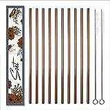 SOET Juego de 10 pajitas rectas de acero inoxidable, aptas para lavavajillas, con 2 cepillos de limpieza, reutilizables, coloridas pajitas de cobre rosa