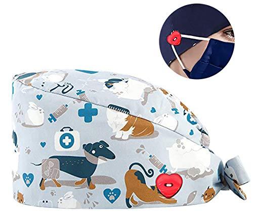 Cloudkids Sombrero Enfermera Estampado Unisex Ajustable Robin Hat Sombrero Quirofano Reutilizable Dentista Gorro para Pelo Largo Corto Gorro de Trabajo Algodón (Perro)