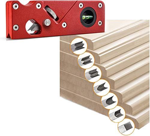 Holzbearbeitungskanten-Eckhobel, 45 Grad Schrägkante,manuelle Hobel, verstellbare Fasenhobel, Anfasen und Trimmen, Trimmhobel, Fasenhobel,Handhobel für Holzbearbeitung (Rot+7pc Klinge)