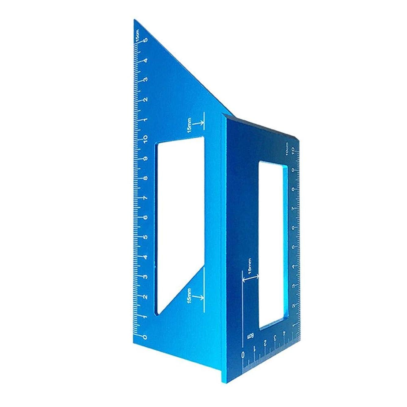 安心させる気まぐれなビームMacrorunjp L形直角定規 ケガキ工具 定規 曲尺 定規 木工工具 アルミ合金 DIY工具 ブルー