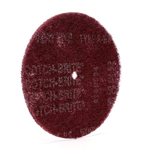 """Scotch-Brite High Strength Disc - Very Fine Grit Aluminum Oxide - For Deburring and Cleaning Metal - Satin Finishing Disc - Stackable - 8"""" x 1/2"""" - 10 per inner, Pack of 20"""
