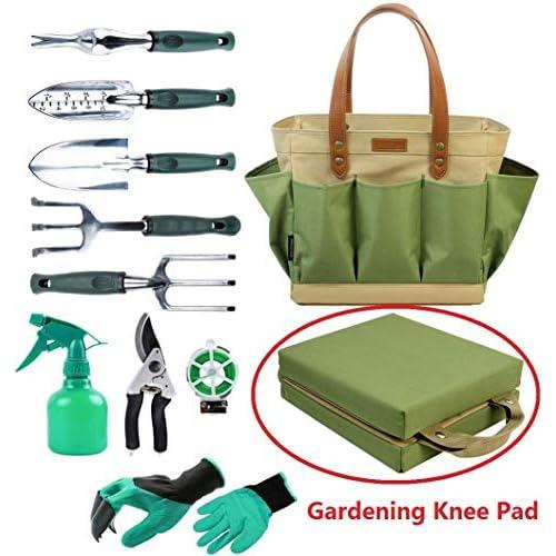 Garden Tool Tote bag solido con 11 pezzi attrezzi da giardinaggio, Best gift set organizer con verdure Garden Tool kit, free ginocchia