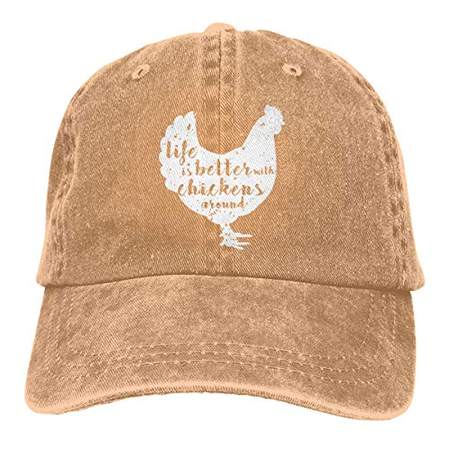 Life is Better with Chickens Around Vintage Adjustable Cowboy Cap Gym Caps for Adult (Natural)