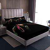 Juego de sábanas de libélula con diseño de libélula, para niños, niñas, insectos voladores, sábanas, sábana bajera ajustable con 2 fundas de almohada, 3 piezas, cama doble