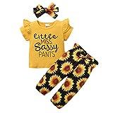 ZOEREA Conjunto de Ropa de Bebé Niña Linda Camiseta Casual con Volantes + Pantalones Floral + Diadema de Lazo para Recién Nacido Verano 3 Piezas de Ropa