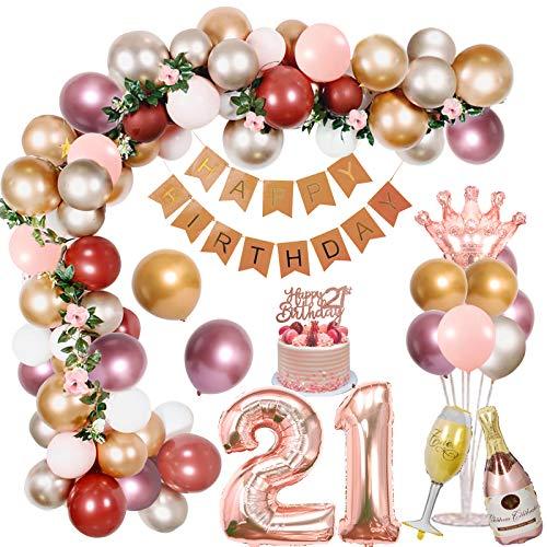 Decoraciones de 21 cumpleaños para niñas, globos metálicos de color rosa dorado plateado con pancarta de feliz cumpleaños Corona Botella de champán Globos de papel de aluminio Suministros para fiestas