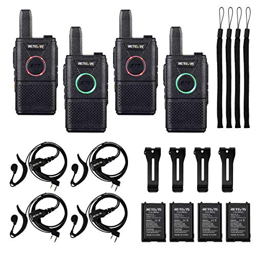 Retevis RT18 Walkie Talkies Rechargeable Adults,Mini 2 Way Radio with Earpiece Headset,Portable FRS Two-Way Radios,Dual PTT,Hands Free,for Family Small Business(4 Pack)