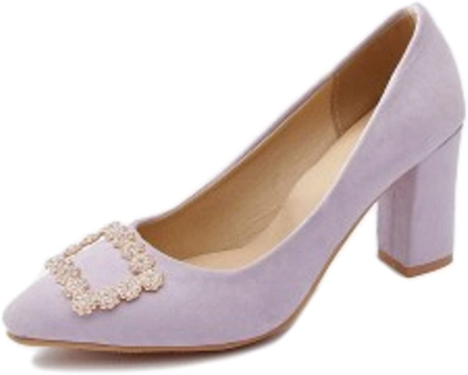 Smilice Working Pumps with Pointed Toe and Chunky Heel for Office Ladies with Plus Size Available