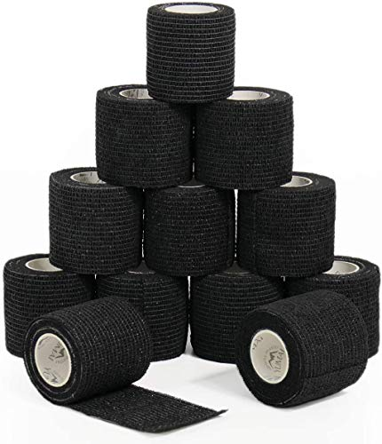 Venda cohesiva 5cm x 4.5m deportivo cohesivo cinta 12Rollos vendas autoadhesiva,vendaje adhesivo,venda de agarre de tatuaje para primeros auxilios,deportes y accesorios de agarre de tatuaje (negro)