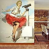 Etiqueta De La Pared Para La Sala De Estar Dormitorio Cocina Pasillo Habitación De Los Niños Foto Personalizada Marilyn Monroe Papel Tapiz Retro Estilo Europeo Estrella De Cine Mural Ropa De Cama H