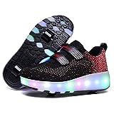 WANGT Zapatos de Roller,Led Luces USB Cargable Automática de Skate Zapatillas Ruedas Dobles Running Zapatillas para...