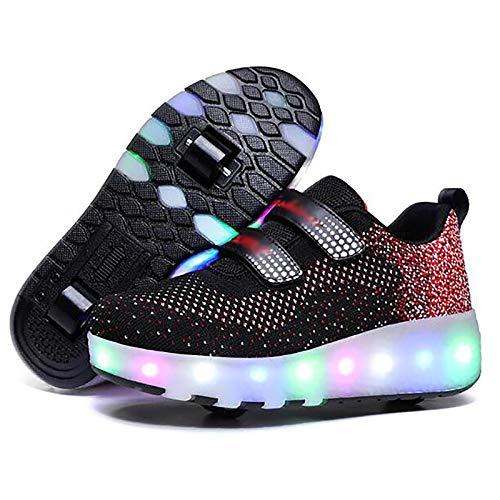 WANGT Zapatos de Roller,Led Luces USB Cargable Automática...