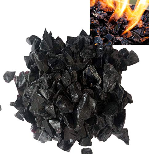 Firebrand Direct Black Fire Glass 1kg (2.2lb) - For Fire Pits, Gas Fires And Ethanol Burners. Sparkling Heat Resistant Glass