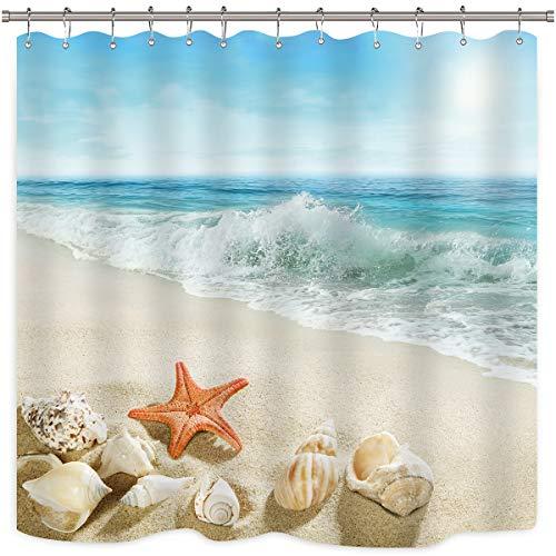 Conjunto de cortina de chuveiro Riyidecor de estrela do mar painel concha, concha, mar, ondas, rochas, ilha oceano, céu, azul, tecido de poliéster, à prova d'água, 182 x 198 cm, pacote com 12 ganchos de plástico
