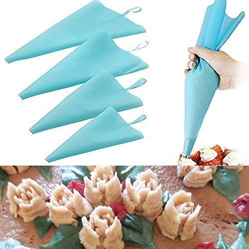Cake Decorating Supplies: Pastry Bags Set of 4 Pcs Silicone Piping Bags Blue 4 Sizes: S, M, L XL
