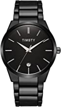 Wrist Watches for Men Black - Timsty Men's Luxury Business Dress Water Resistant Watches with Simple Fashion Design,Calendar and Stainless Steel Strap (Watch Link Pin Remover Included)