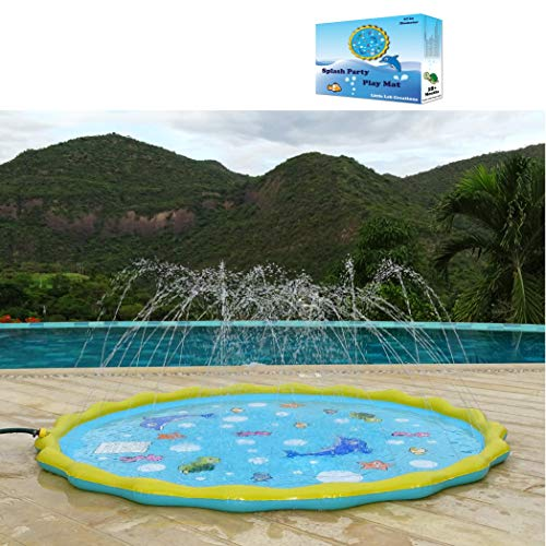 "Little Lab Creations 67"" 4-in-1 Inflatable Splash Pad, Wading Pool, Kiddie Pool and Sprinkler for Kids, Toddlers and Babies 