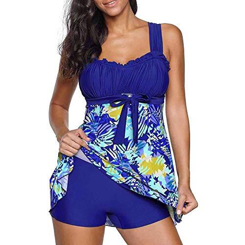 Yczx Costume da Bagno Donna Tankini Halter Costume da Bagno Push up a Due Pezzi Costume da Bagno Sexy con Stampa Floreale Costume da Bagno con Orlo Irregolare Abiti da Spiaggia 3XL