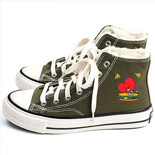 HJJ® Zapatos BTS BTS Nuevos Zapatos de Lona, Zapatos del Alto-Top del Color del Caramelo Deportes, cálido Felpa Calzado Casual Forrados, Carne de Res del tendón Inferior Antideslizantes Estudiantes