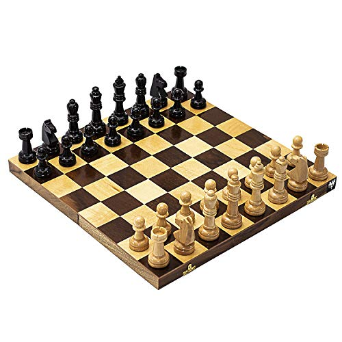 Jogo de Xadrez Tabuleiro Dobrável Marchetado Madeira Maciça Casas 5x5 cm e Peças Rei 10 cm