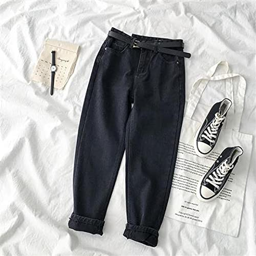 Jeans Women Jeans Spring Soild Color Streetwear High Waisted Denim Trousers Girl Loose Casual Straight Pants for Famale with Belt XXL Blue
