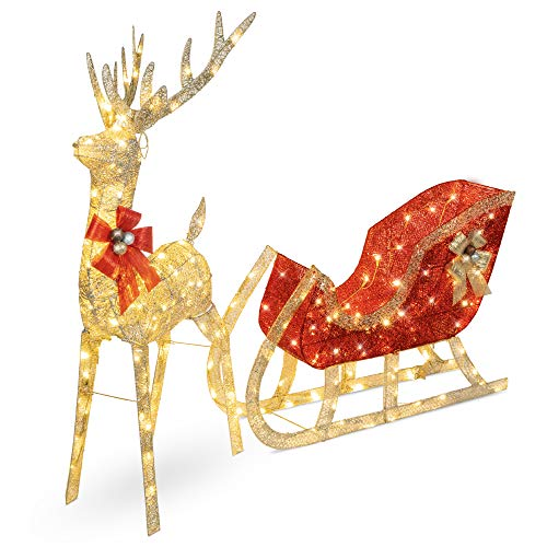 Best Choice Products Lighted Christmas 4ft Reindeer & Sleigh Outdoor Yard Decoration Set w/ 205 LED Lights, Stakes, Zip Ties