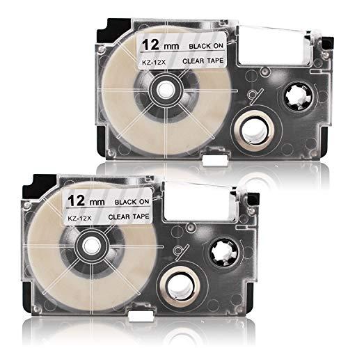 2x Labelwell 12mm x 8m Compatible Cintas de Etiqueta Reemplazo para Casio XR12X XR-12X XR-12X2S Negro en Transparente para Casio KL-60 KL-120 KL-820 KL-70e KL-100e KL100 KL-200 KL300 CW-L300 Impresora