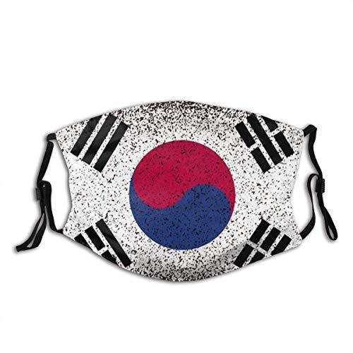 Mundschutz Südkorea Grunge Flag Waschbarer wiederverwendbarer Filter und wiederverwendbarer Mund Warmer winddichter Gesichtsschal