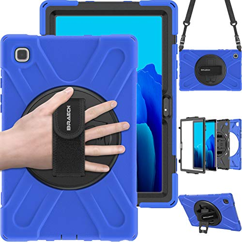 BRAECN Samsung Tab A7 10.4 2020 Protective Case ,Strong and Durable Full body Protective Cover, Rotatable Stand/Hand Strap/Shoulder Strap for Galaxy A7 10.4 inch-- blue