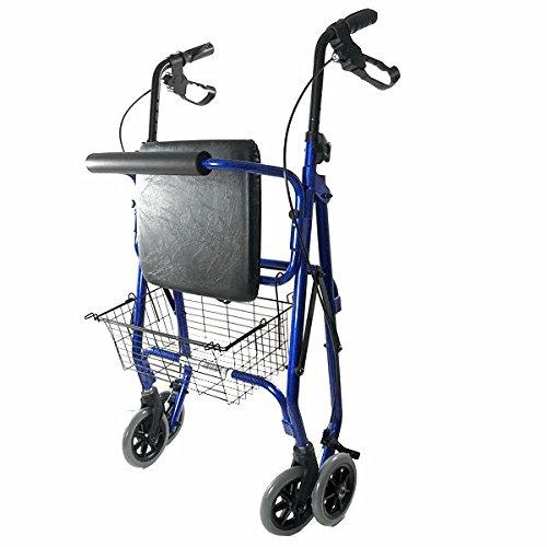 Deambulatore in Alluminio Ultraleggero con 4 ruote Pieghevole con Cestino Incluso