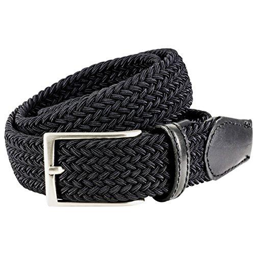 Lindenmann Mens Braided Textile belt/Mens Belt, textile and leather, black, Größe/Size:100