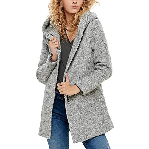 ONLY Damen ONLSEDONA Boucle Wool Coat OTW NOOS Mantel, Grau (Light Grey Melange Detail: Melange), 36 (Herstellergröße: S)